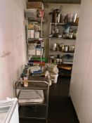 Contents of side store to include utensils, cutlery, crockery, racking & trolley