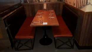 Pedestal Table 1800mm with 2 Steel Framed Timber Slat Benches with Loose Leather Cushions