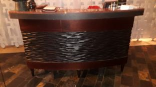 Hard Wood Effect and Granite Topped Shaped Reception Counter and Hardwood Bar Stool
