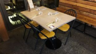 2 Pedestal Tables 600mm with 4 Tubular Steel Chairs