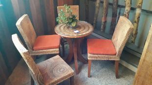 Circular Cane Table with 4 Chairs