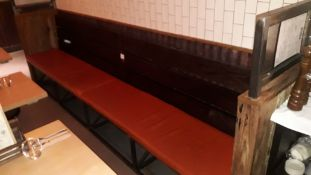 Steel Framed Timber Slat Bench with Loose Leather Cushions 3350mm