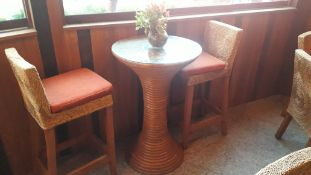 Circular Cane Bar Table with 2 Stools