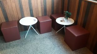 2 Steel Low Tables with 4 Cube Stools