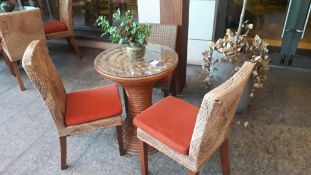Circular Cane Table with 3 Chairs