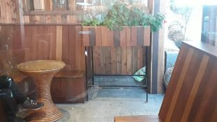 Hardwood Trough on Steel Stand with Circular Cane Table