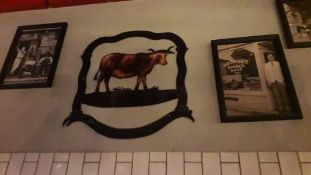 Wall Mounted Art to include 6 Framed Photos, Ranch Sign & Corrugated Iron Sign (Excludes Electric