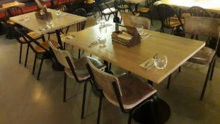 2 Pedestal Tables 1200mm with 8 Tubular Steel Chairs