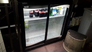 Klimasan S220BB Sliding Door Bottle Cooler and Contents of Soft Drinks