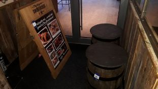 Timber Sandwich Board and 2 Oak Barrels