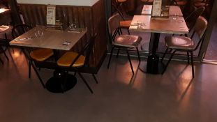 3 Pedestal Tables 600mm with 6 Tubular Steel Chairs