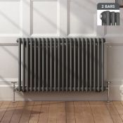 NEW & BOXED 600x1008mm Anthracite Double Panel Horizontal Colosseum Traditional Radiator. RRP £549.