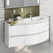 NEW & BOXED 1040mm Amelie High Gloss White Curved Vanity Unit - Right Hand - Wall Hung. RRP £1,499.