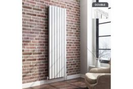 NEW & BOXED 1800x532mm Gloss White Double Flat Panel Vertical Radiator. RRP £499.99.Designer Touch