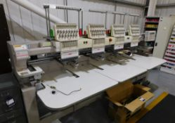 SWF Model SWF/C-UK1504-45 Four Head Embroidery Machine s/n 43806009 & Box of hoops (Single Phase) (