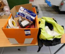 Quantity of PPE to Box comprising Gloves, Coveralls, Ear Protectors