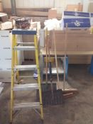 4 Tread Step Ladder, 2 Snow Shovels & 2 Broom