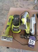 Ryobi RWSL 1801 -18V Cordless Circular Saw & Ryobi CAP-1801 Angle Cordless Drill with One Charger