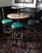 2 tier poser table with cast iron base & 3 Stools