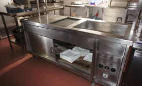 Stainless steel double door heated servery with he