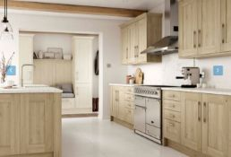 Tiverton solid oak kitchen Range, approx. 7138 items including doors drawers inc curved doors,