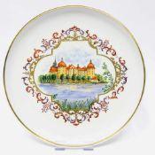 Großer Wandteller / Zierteller / Schale: Meissen Porzellan. Schloß Moritzburg. Gold, sehr gut.