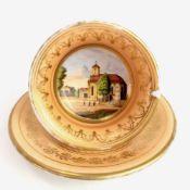 Bilder-Tasse / Ansichtentasse: Porzellan, Lupen-Malerei, Gold staffiert.Porzellan, orange