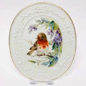 Wandplakette / Zierplatte: Meissen Porzellan. Dekor Rotkehlchen und Blumen, Gold, sehr gut.Ovale