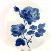 """Wandplatte / Zierplatte: Dekor """"Rose in Kobaltblau"""". Inglasur durch Einsinkfarbe!! Wolfram"""