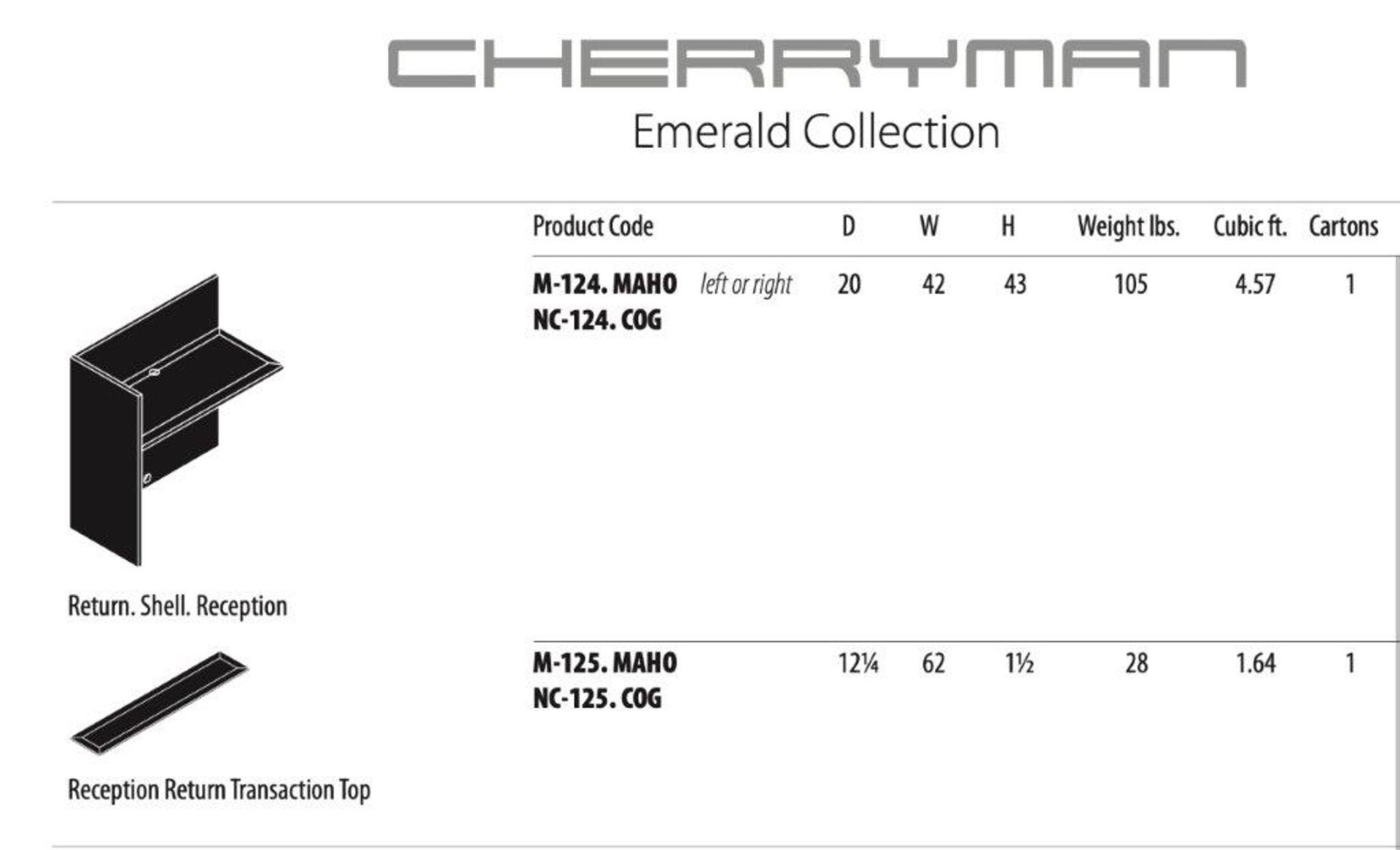 Cherryman Emerald Collection Mahogany Reception Return (M124) (Original List price each: $1,000) - Image 2 of 3