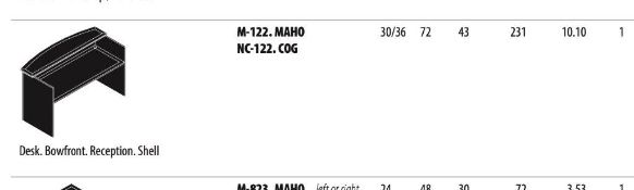 Cherryman Emerald Collection Mahogany Reception Desk Bowfront Shell (M-122.MAHO) (Original List