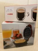 MINI WAFFEL MAKER AND JUDGE SET OF TWO DOUBLE WALLED ESPRESSO GLASSES