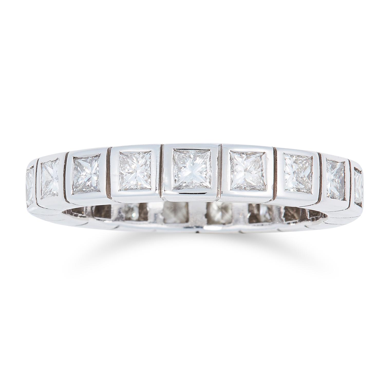Lot 188 - A 2.0 CARAT DIAMOND ETERNITY RING set with princess cut diamonds totalling approximately 2.0 carats,