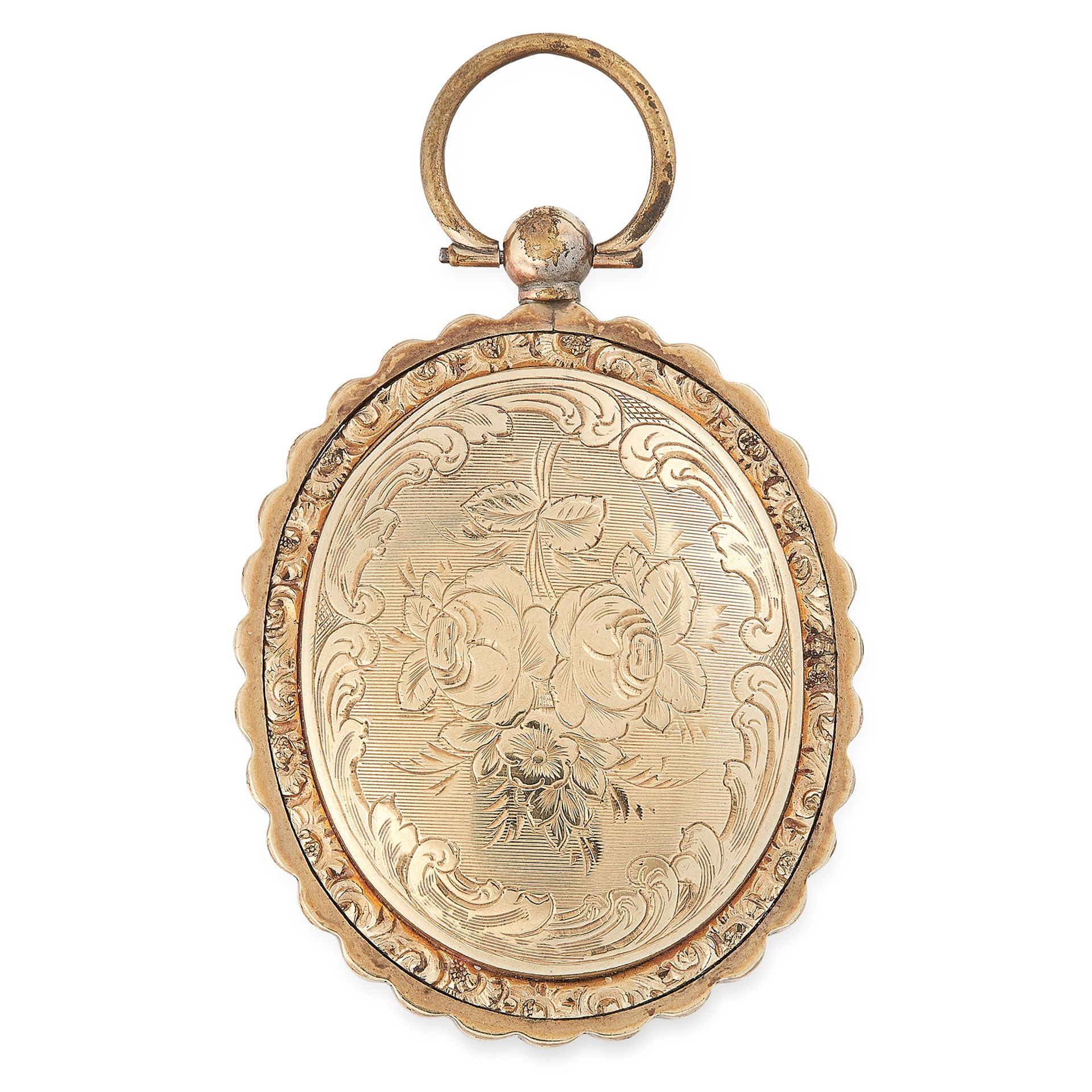 Los 19 - AN ANTIQUE HAIRWORK AND PORTRAIT MINIATURE MOURNING LOCKET, 19TH CENTURY the oval body with