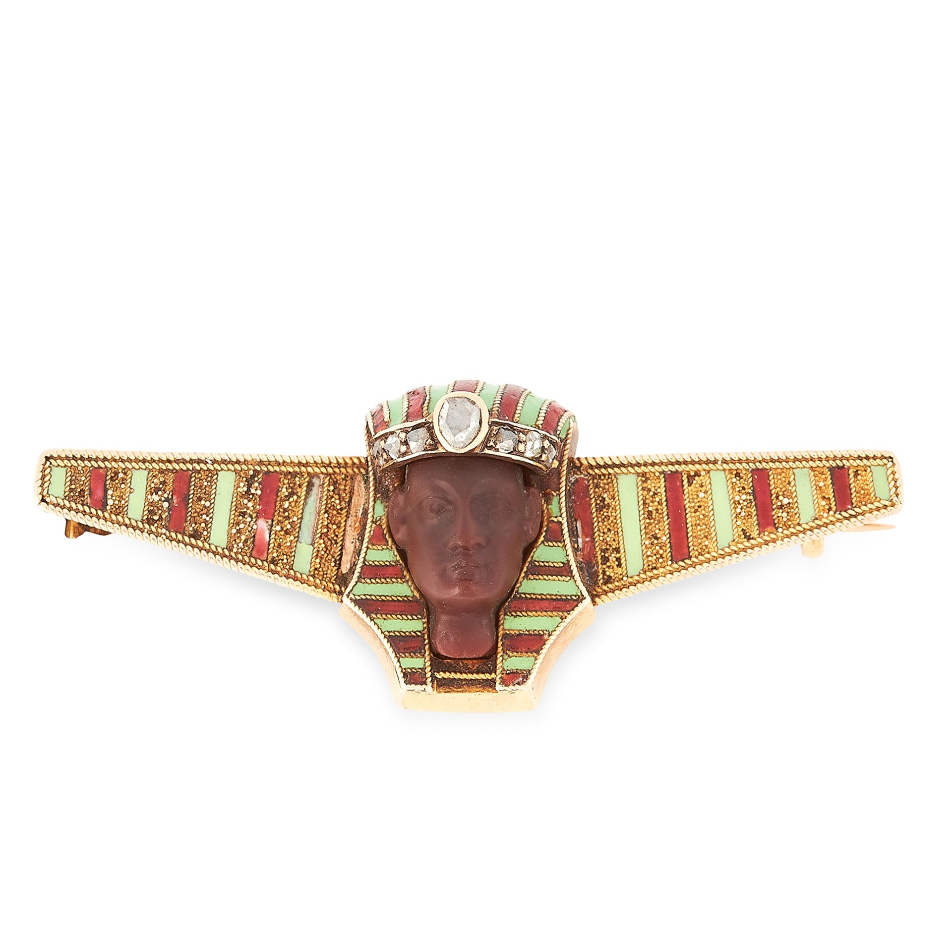 Los 25 - AN ANTIQUE HARDSTONE, DIAMOND AND ENAMEL BROOCH in yellow gold, in the Egyptian Revival manner, with