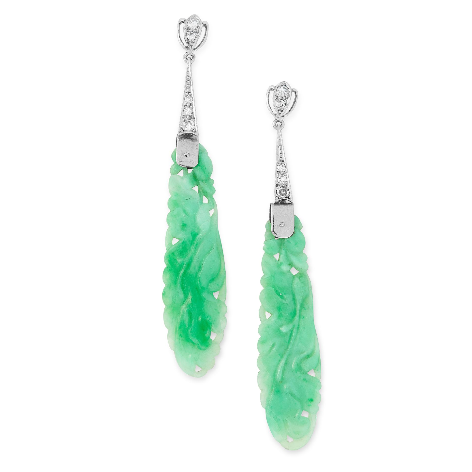 Los 51 - A PAIR OF ART DECO JADEITE JADE AND DIAMOND EARRINGS each set with a Chinese carved piece of jadeite