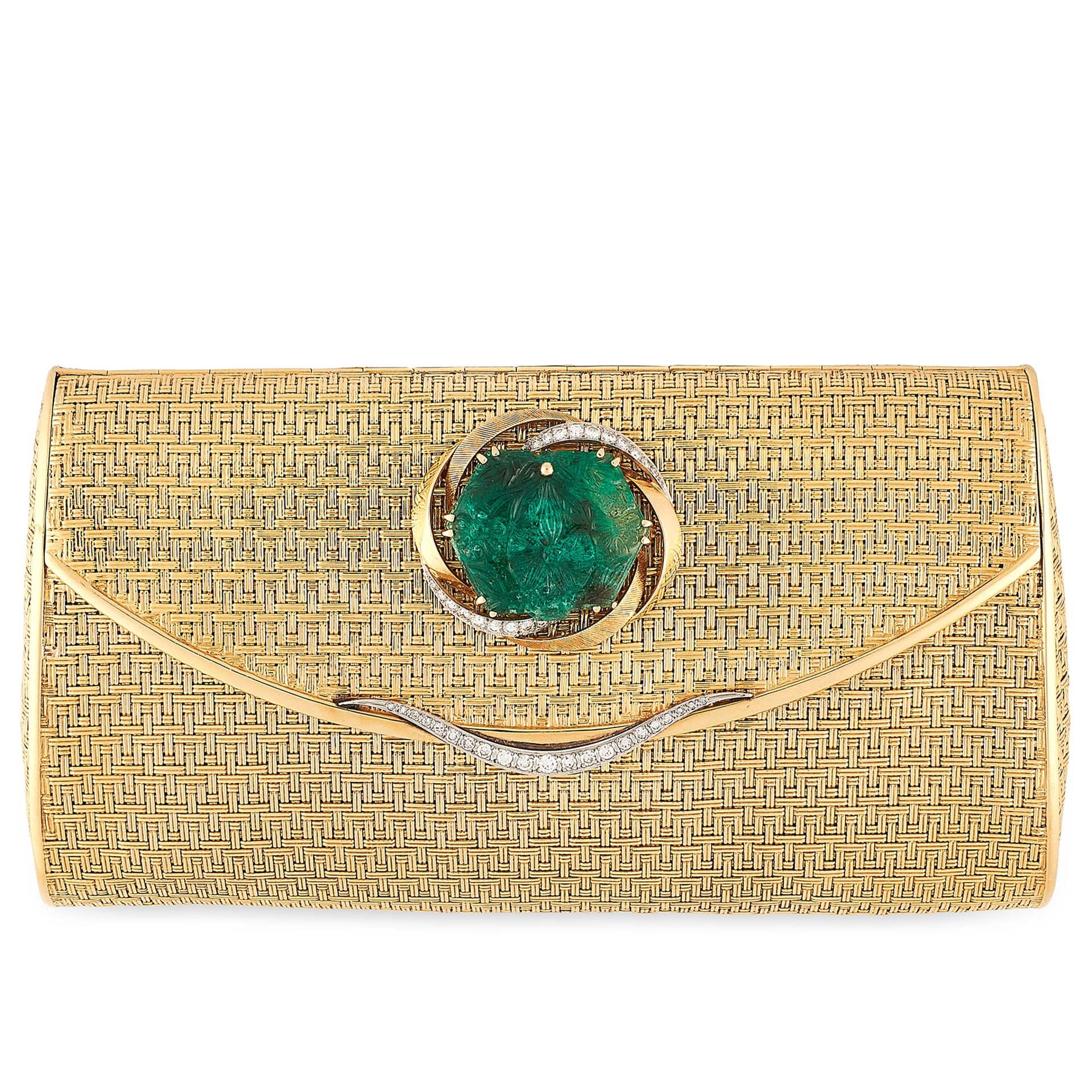 Los 46 - A VINTAGE EMERALD AND DIAMOND EVENING BAG, CARTIER in 18ct yellow gold, the woven body with hinged