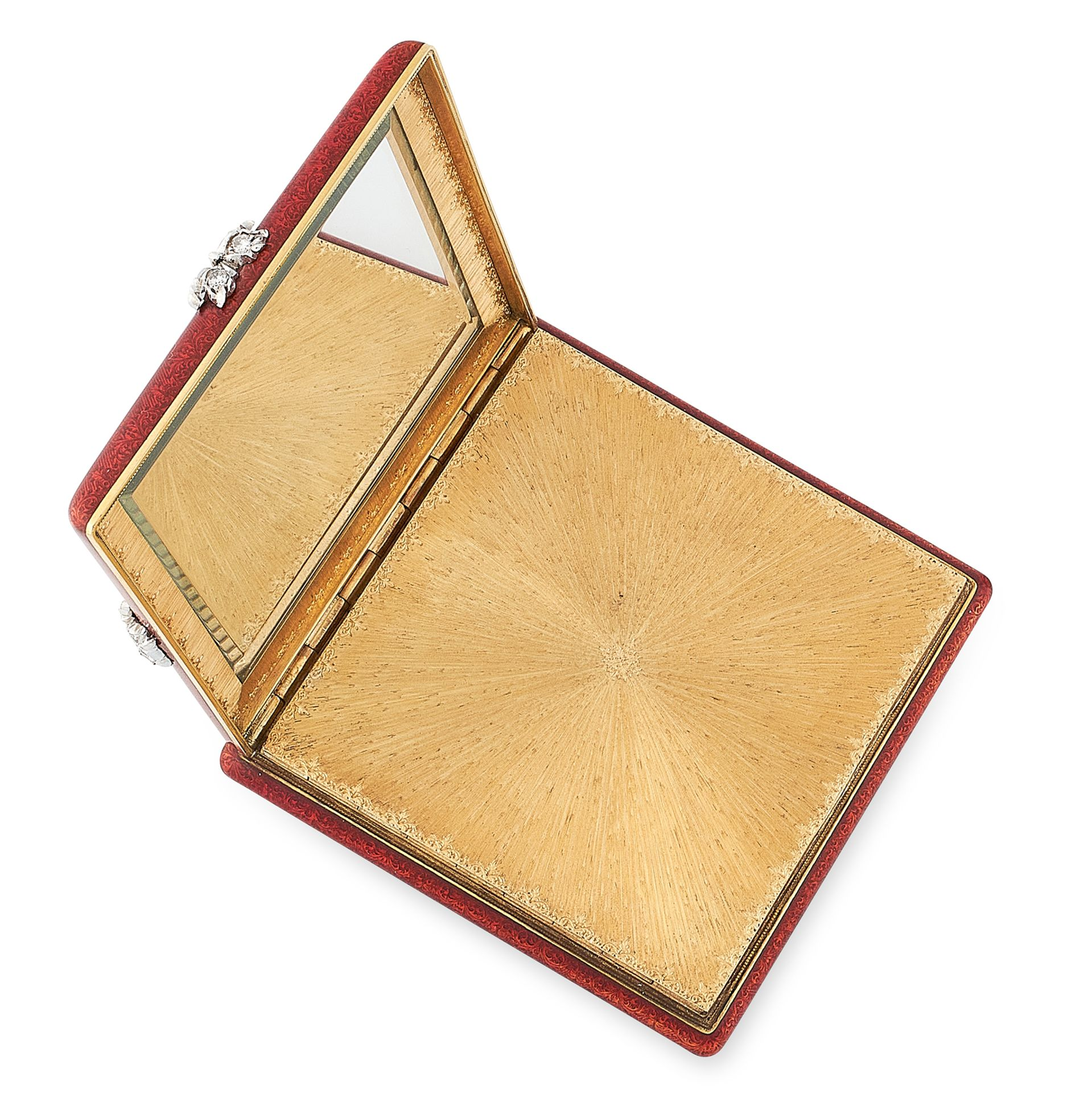 Los 47 - A VINTAGE DIAMOND AND ENAMEL COMPACT, ATTR BUCCELLATI in yellow gold, of squared design, the body