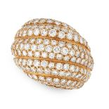 A DIAMOND BOMBE DRESS RING, CARTIER in 18ct yellow gold, of reeded bombe design, set allover with
