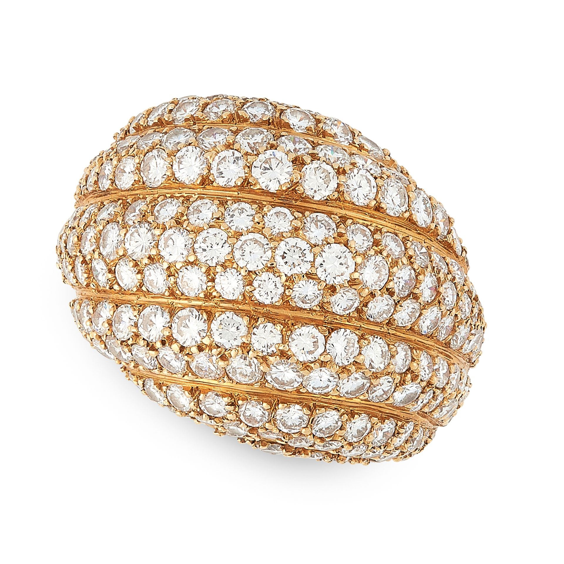 Los 31 - A DIAMOND BOMBE DRESS RING, CARTIER in 18ct yellow gold, of reeded bombe design, set allover with