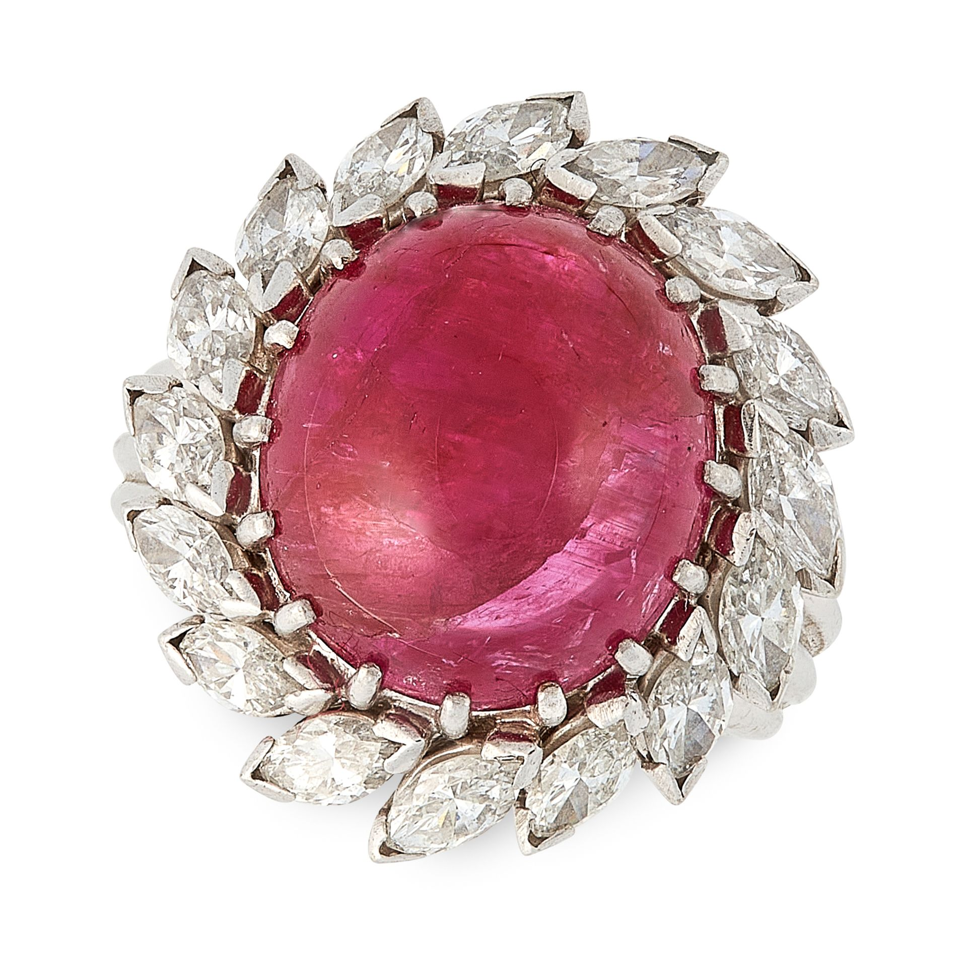 Los 38 - A BURMA NO HEAT RUBY AND DIAMOND RING set with an oval cabochon ruby of approximately 12.0 carats