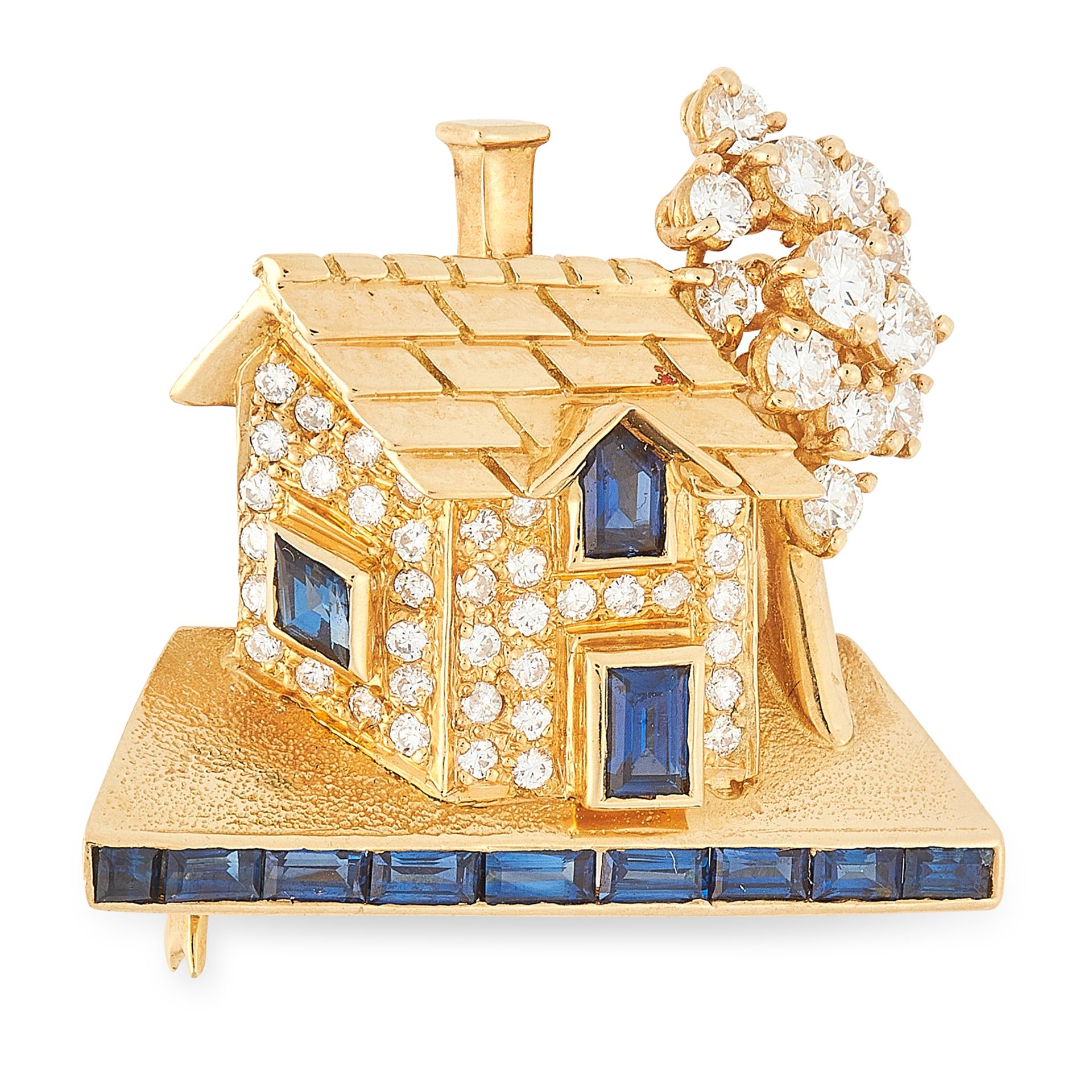 Los 14 - A SAPPHIRE AND DIAMOND HOUSE BROOCH in 18ct yellow gold, designed to depict a house with a tree,