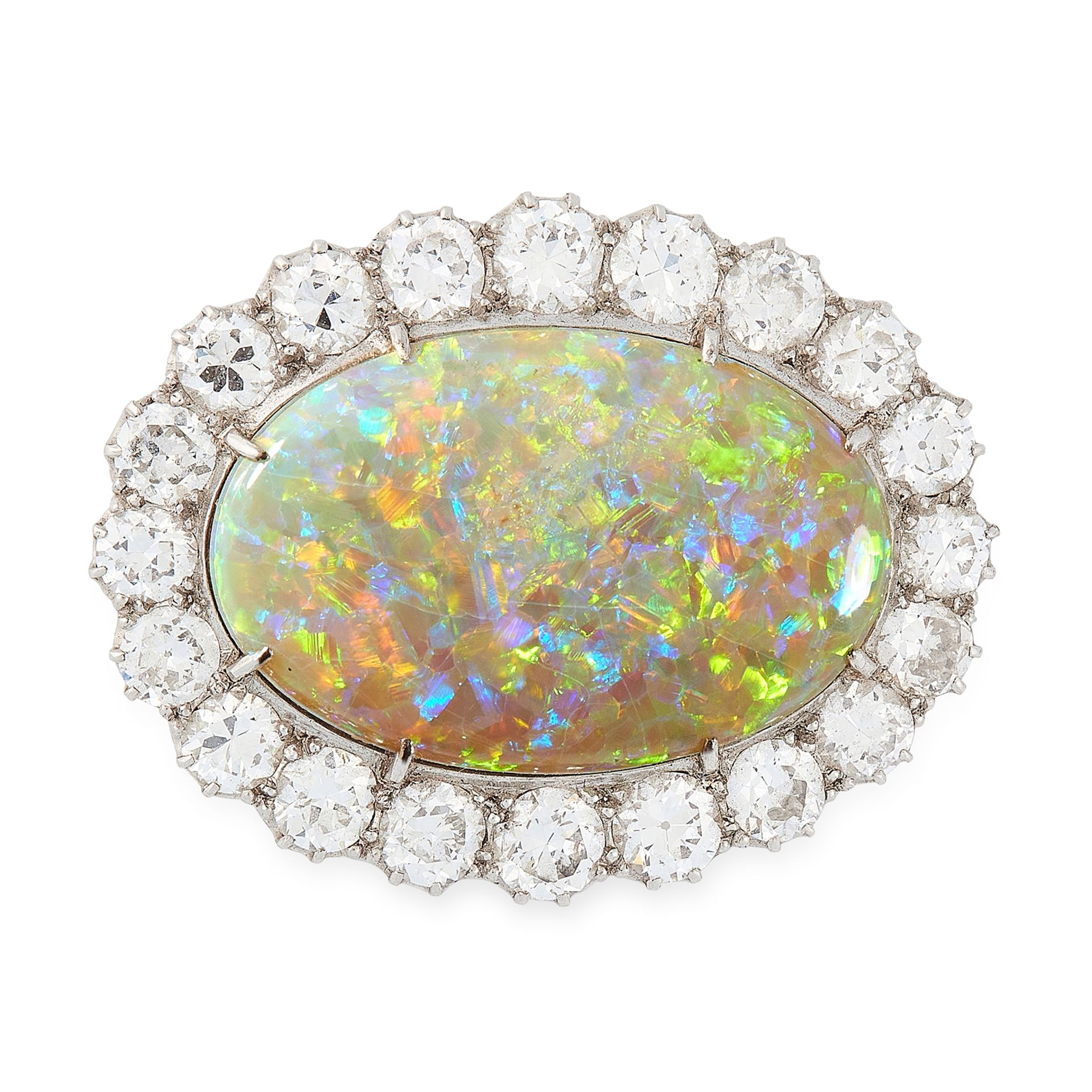 Los 2 - AN OPAL AND DIAMOND BROOCH set with a large oval opal cabochon of 16.56 carats within a border of