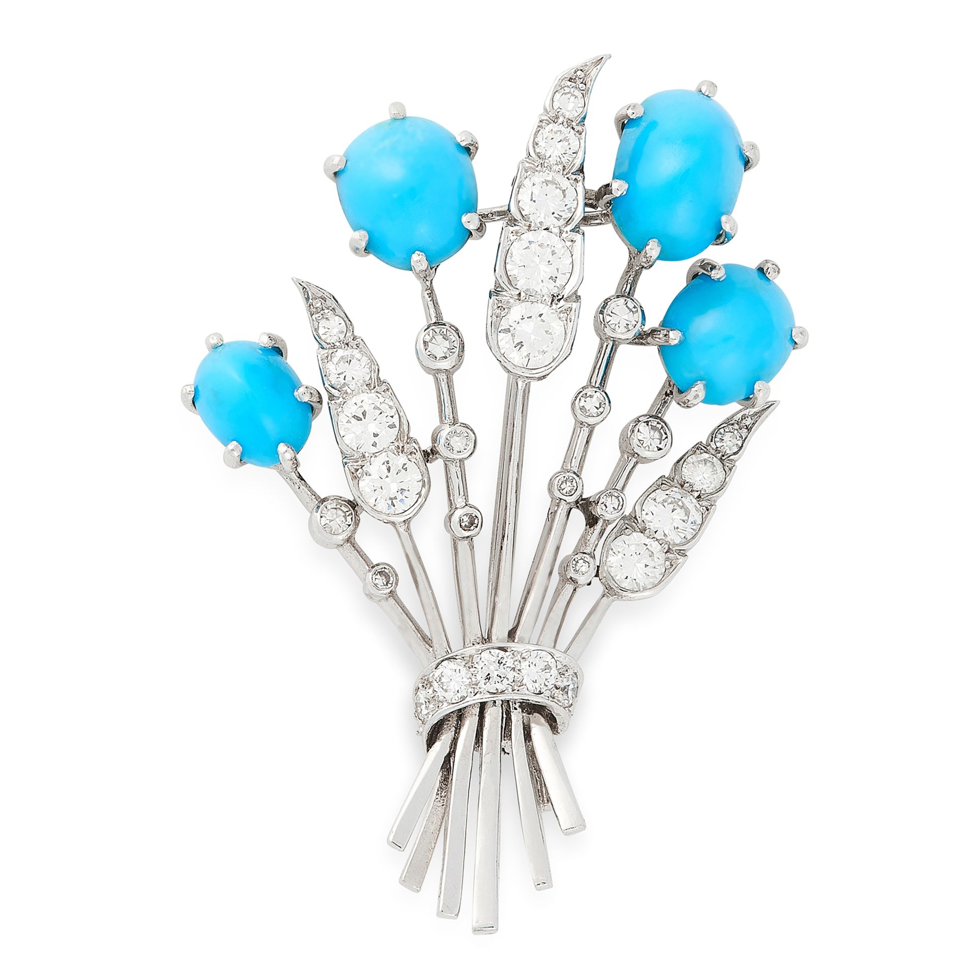 Los 43 - A VINTAGE TURQUOISE AND DIAMOND BROOCH, CARTIER in 18ct white gold, designed as a floral spray,