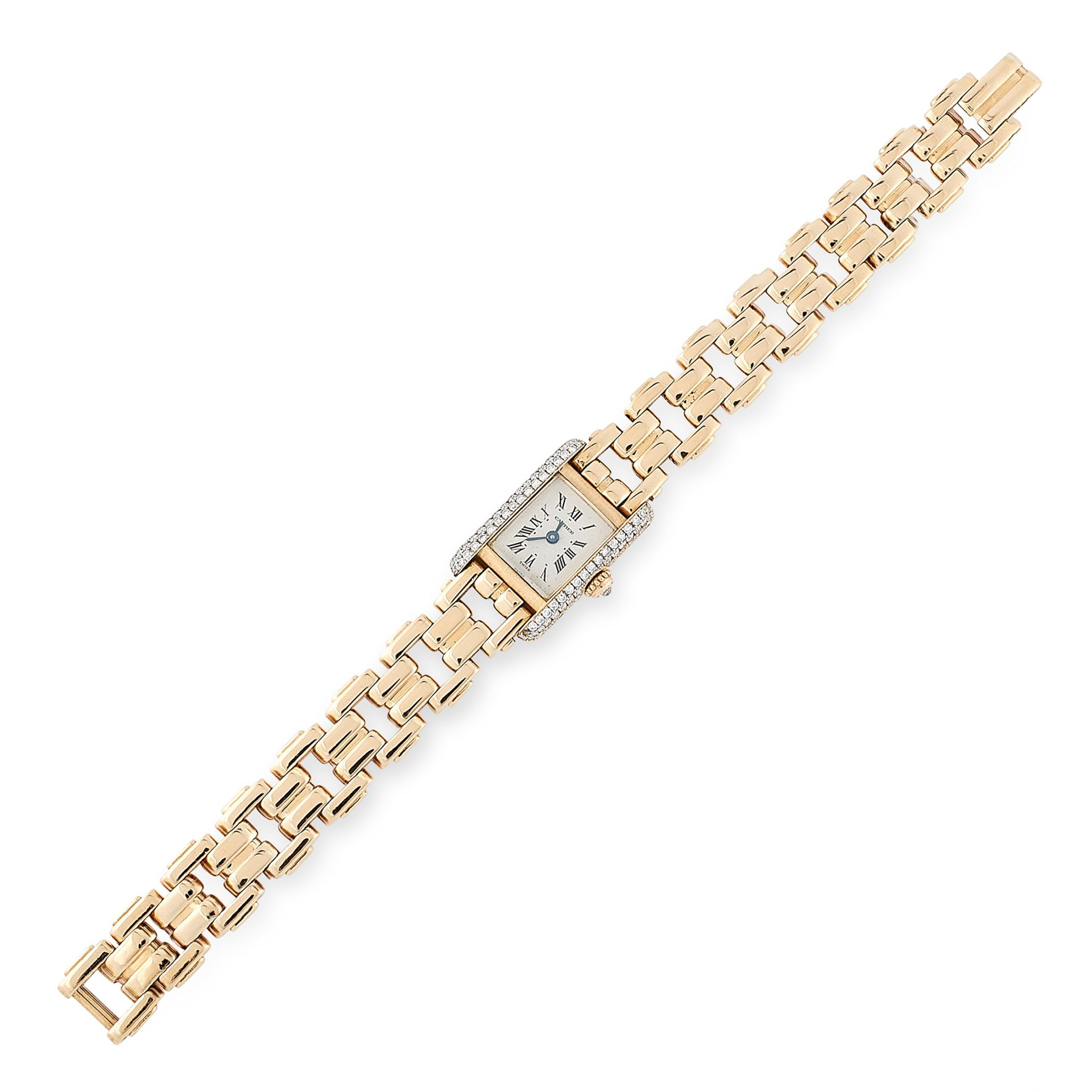 Los 5 - A LADIES DIAMOND TANK WRIST WATCH, CARTIER in 18ct yellow gold, the rectangular case jewelled on