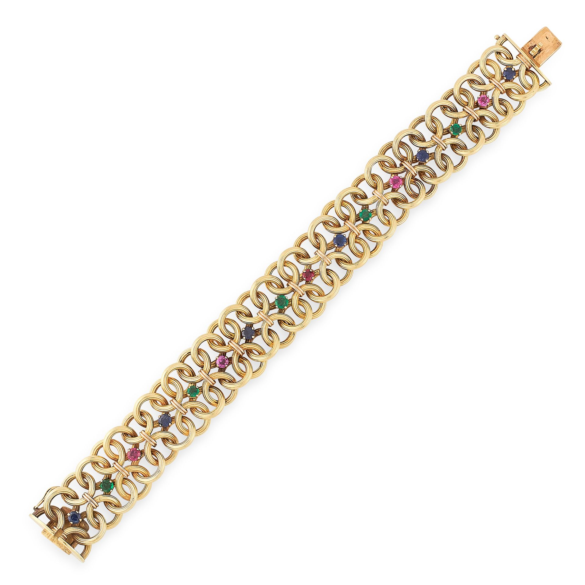 Los 33 - A VINTAGE RUBY, EMERALD AND SAPPHIRE BRACELET, CARTIER 1967 in 18ct yellow gold, designed as a
