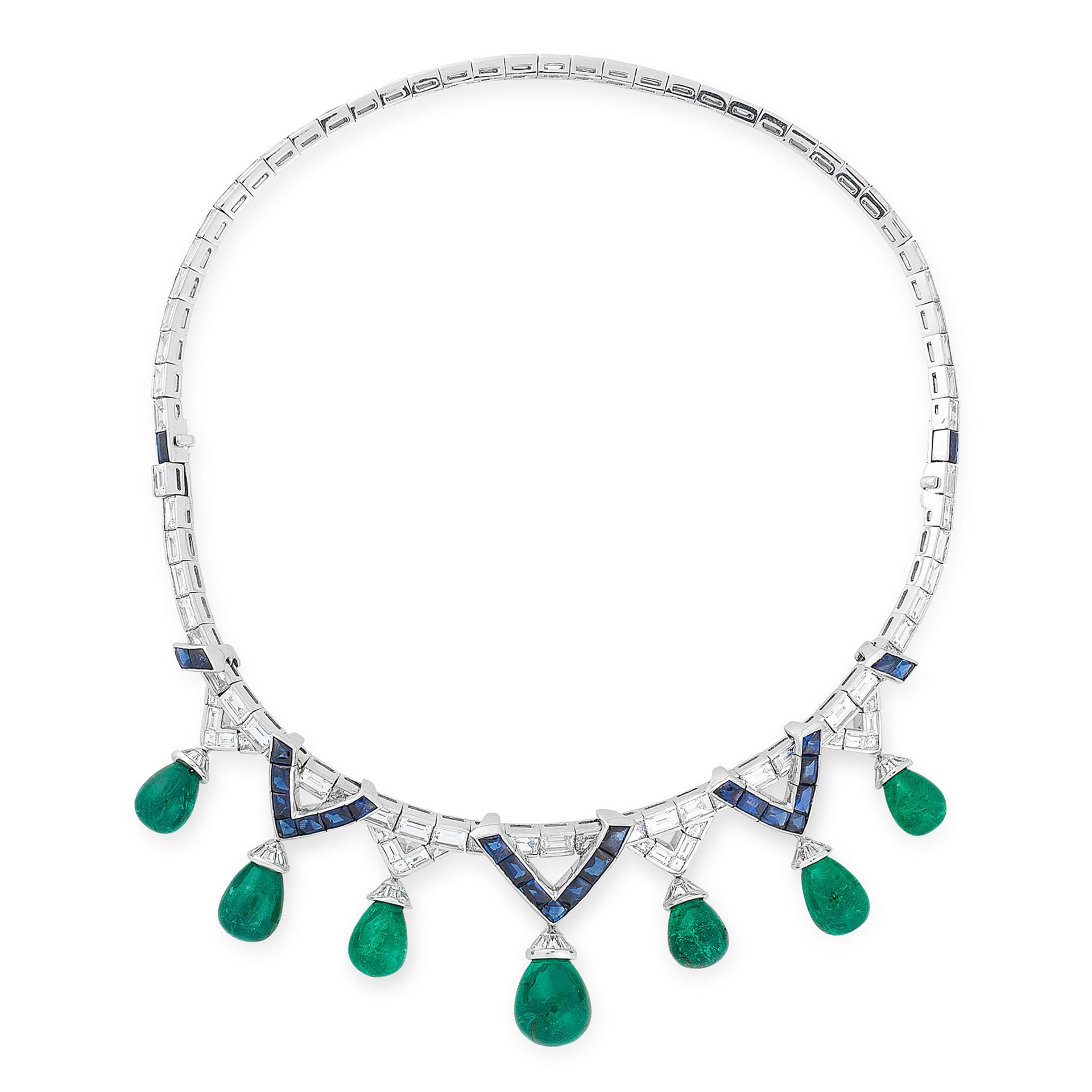 Los 57 - AN EMERALD, SAPPHIRE AND DIAMOND NECKLACE, MICHELE DELLA VALLE comprising a row of graduated step