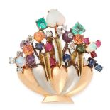 A VINTAGE JEWELLED GIARDINETTO BROOCH in yellow, white and rose gold, designed as a basket of
