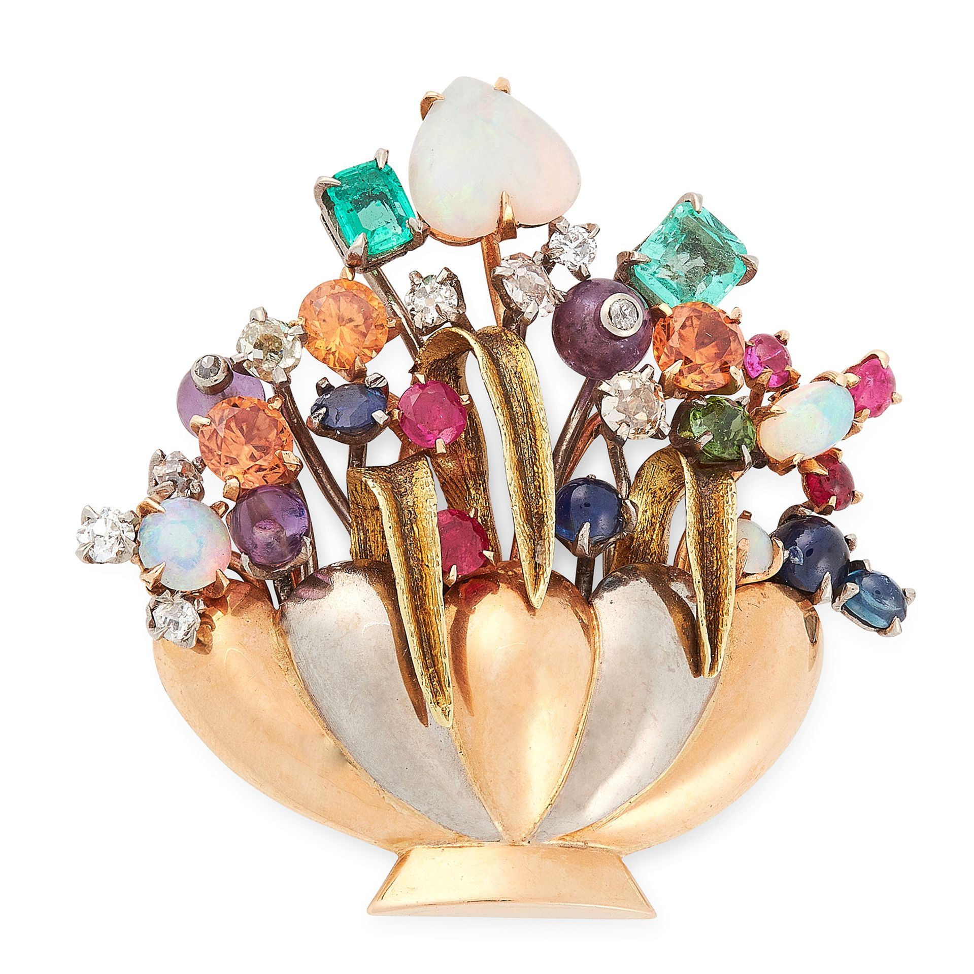Los 29 - A VINTAGE JEWELLED GIARDINETTO BROOCH in yellow, white and rose gold, designed as a basket of