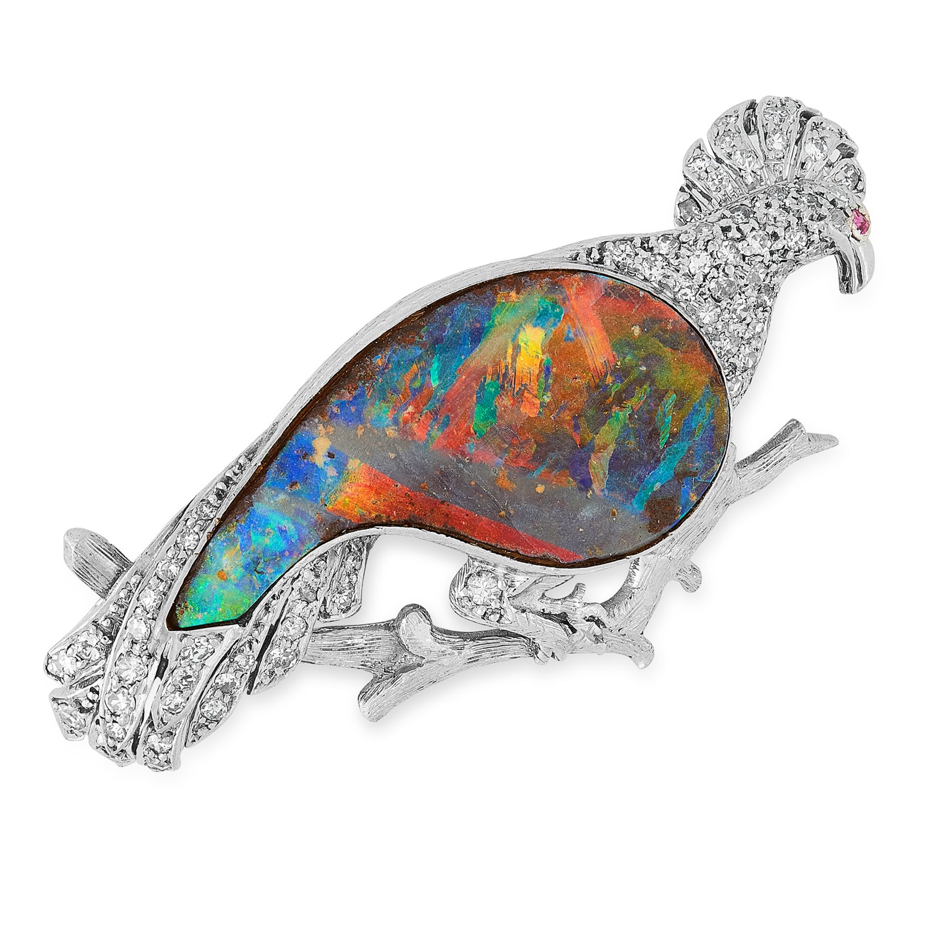 Los 37 - A VINTAGE BLACK OPAL AND DIAMOND BROOCH designed as a bird, the body set with a polished piece of